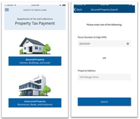 Property Tax Payment - Screens 1 and 2